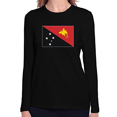 Teeburon Papua New Guinea Flag Damen Langarm T-Shirt -