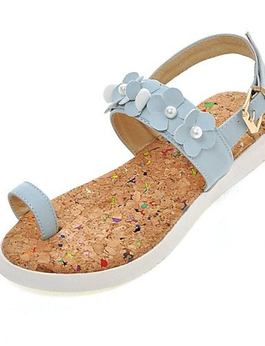LFNLYX Chaussures Femme-Habillé / Décontracté / Soirée & Evénement-Noir / Bleu / Rose / Blanc-Talon Plat-Confort-Sandales-Similicuir Blue