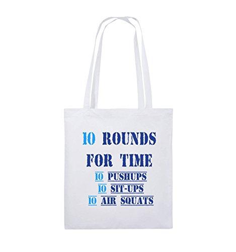 Comedy Bags - 10 Rounds for time 10 pushups 10 sit ups 10 air squats - Jutebeutel - lange Henkel - 38x42cm - Farbe: Schwarz / Weiss-Neongrün Weiss / Royalblau-Hellblau