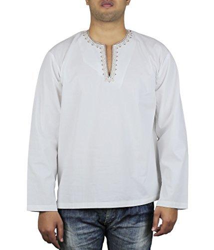 Locker Locker Luftig Indischen Outfit Männer Shirt Bestickt Kurta Komfortable 42 Zoll