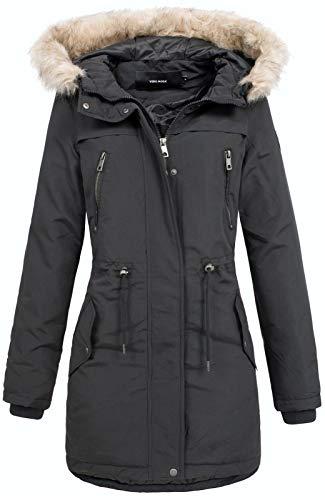 VERO MODA Damen Winterparka Jacke Breeze Agnes Fellkapuze 10198904 Black M