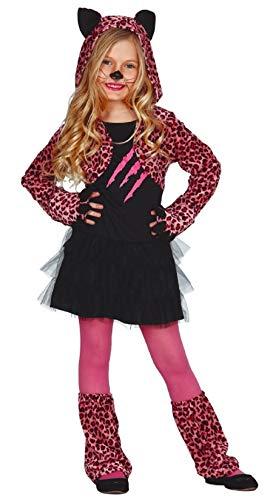 Mädchen Deluxe Rosa Leopard Halloween Karneval wildes Tier Big Cat für Katzen Velvet Kostüm Kleid Outfit - Rosa, 7-9 - Wilde Katze Halloween Kostüm