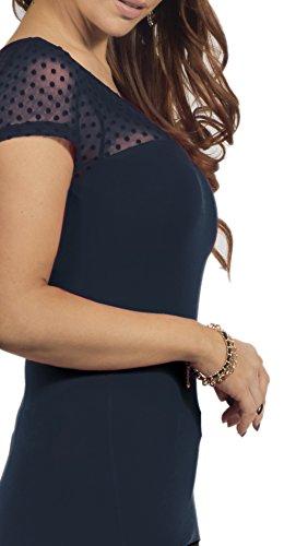 Moderne femmes Top avec encolure ronde Gauzy dentelle à manches courtes de motif à pois Marine Bleu