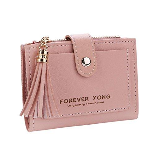 Brieftasche Damen Btruely Geldbörse Klein Brieftasche Kurze Portemonnaie mit Münze Tasche Karte Halter Leder Geldbörse Vordertasche Mini Wallet (Rosa) (Plaid-damen-laptop-tasche)
