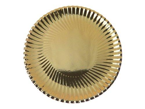 Pappteller gewellter Rand gold, 23 cm, 10 Stück