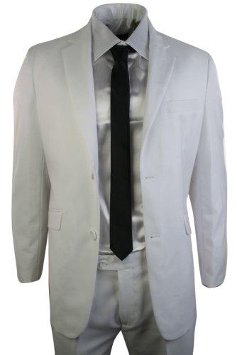 Hommes 2 bouton blanc élégant costume mariage bal veste occasionnelle et pantalon Blanc