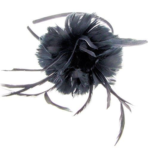 Lillie Weiche Feder Fascinator auf Haarreif in schwarz (e7101blk))