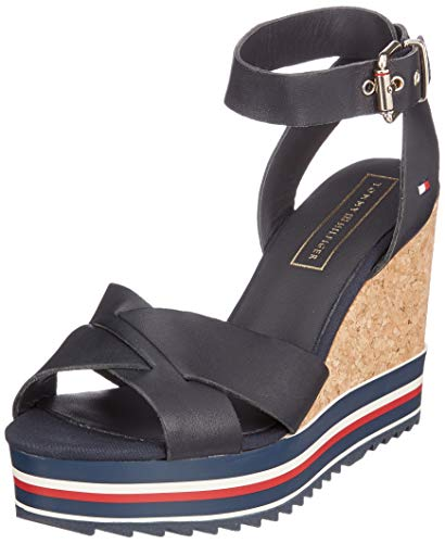 Tommy Hilfiger Colored Stripes Wedge Sandal, Sandalias con Plataforma para Mujer, Azul Midnight 403...