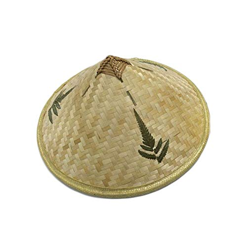 sche Retro Bambus Rattan Fischer Hut Handmade Weave Stroh Eimer Hut Tourismus Regen Cap Dance Requisiten Kegel Angeln Sunsh ()
