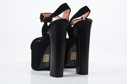 Jeffrey Campbell Donnas Black Suede Shoes Sandali neri scamosciati Black