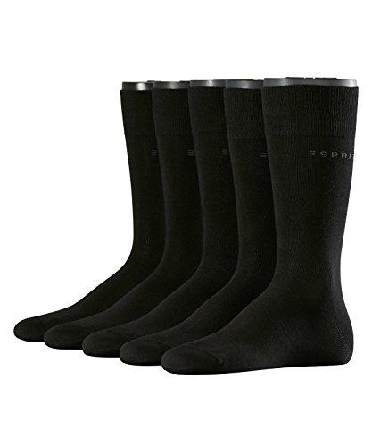 ESPRIT Uni 5er Pack Herren Socken black (3000) 40-46 aus hautfreundlicher Baumwolle