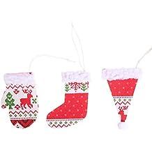 Lihan 3pcs Botas de Navidad Sombrero Guantes Estampado de Cordero de Navidad Decoracion arbol Navidad Adorno