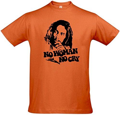 Bob Marley Premium T-Shirt No Woman No Cry - Orange 5XL XXXXXL -
