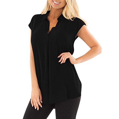 VJGOAL Women Plus Size Casual Sleeveless Solid V Neck Pleated Ruffled Loose Chiffon Tank Top Blouse T Shirts