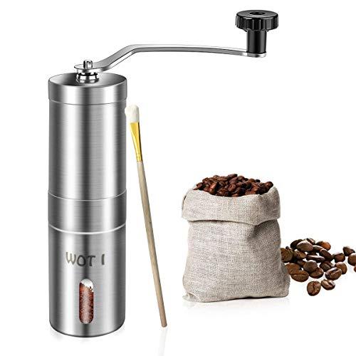 WOT I Kaffeemühle Manuell aus Edelstahlmit Keramikmahlwerk Verstellbaren Hand-Kaffeemühle Geschenkverpackung Verfügbar