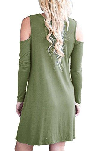 HAOMEILI Damen Langarm Kalte Schulter Swing Kleid Tank Top Loose Casual T-shirt Kleid mit Pocket Langarm Armeegrün