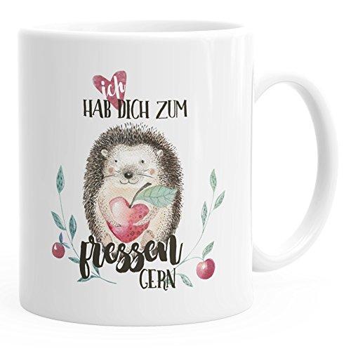 MoonWorks Kaffee-Tasse Ich Hab Dich Zum fressen Gern Watercolor Igel Liebe Spruch Geschenk Love Quote