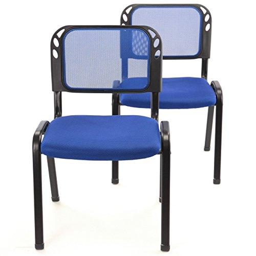 2er Set Bürostuhl Konferenzstuhl Besucherstuhl blau gepolsterte Sitzfläche stapelbar 52,5 x 45 x...