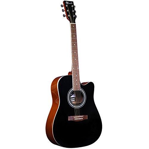 Lindo 42C Apprentice Series - Guitarra acústica (con cutaway y funda), color negro brillante