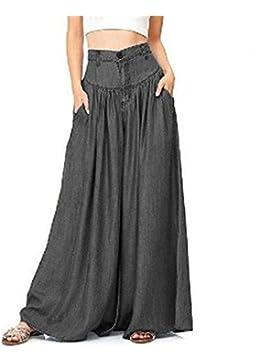Pantaloni larghi da donna casual-Pantaloni estivi morbidi e traspiranti con tasche lunghe a vita alta oversize