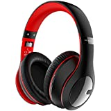 Criacr Bluetooth Headphones, Foldable Lightweight Over Ear Wireless Headsets Hi-Fi Stereo, 3.5mm Audio Jack, Soft Earmuffs, Built-in Microphone Smartphones, Tablet, TV, PC - Red