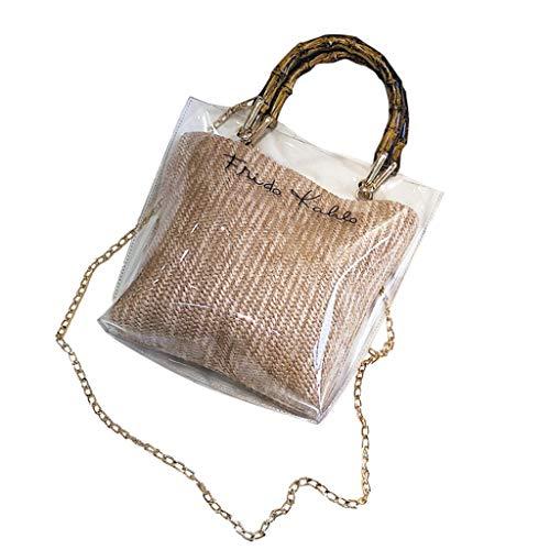 Mitlfuny handbemalte Ledertasche, Schultertasche, Geschenk, Handgefertigte Tasche,Frauen-modische klare Gelee-Umhängetaschen-Damen-Bambuswebart-Handtaschen für Partei