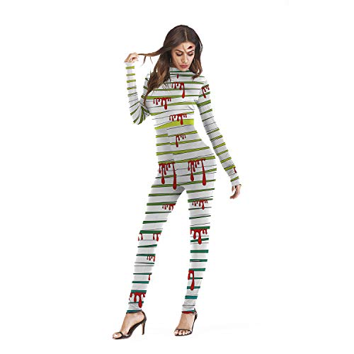 MYLEDI Halloween Frauen Siamesisches Kostüm - 3D Mumie Drucke Long Slim Fit,White+Green,S/M
