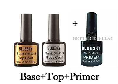 Bluesky Base and Top soak Off UV Gel Nail polish, Primer