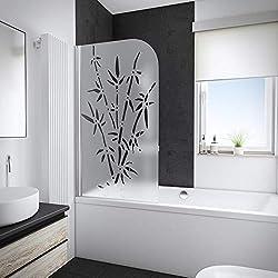 Pare baignoire rabattable Schulte, paroi de baignoire pliante 80x140 cm, écran de baignoire 1 volet pivotant, pare-douche décor bamboo, profilé aspect chromé