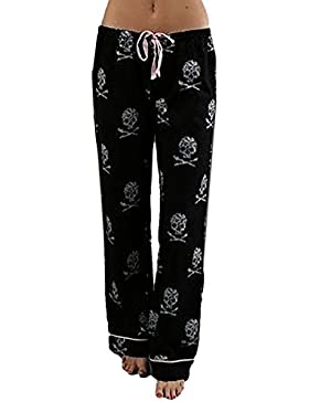 Pantalones de Pierna Ancha para Mujer - Cabezas de cráneo Impreso Elástico Leggings con Cordón Comfortable Polainas...