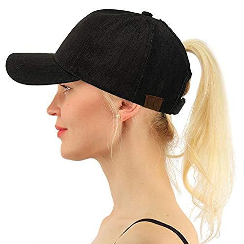 FDHNDER@ Baseball Cap- Snapback Baseballkappe -Trucker Cap Kappen -Mütze-Basecap-Baseball Mützen für Draussen, Sport oder auf Reisen Lady wusch Denim Pferdeschwanz Hut zurück öffnen schwarz - Denim-baseball-hüte Womens