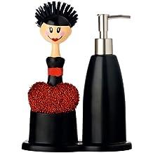 Vigar Dolls - Set fregadero con dispensador de jabón, estropajo en forma de corazón y cepillo para lavar los platos, plástico, color negro y rojo