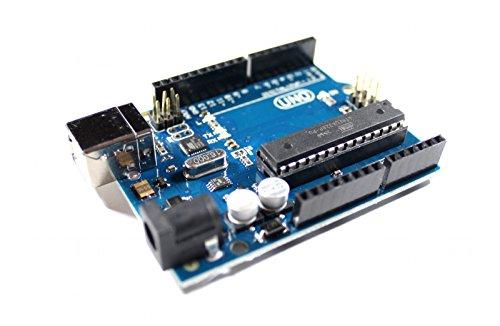 Uno R3 con microcontrollers Atmel ATMEGA328P e ATMEGA16U2, compatibile al 100% con Arduino