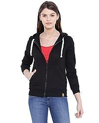 Campus Sutra Women Black Zipper Hoodie(AW16_ZH_W_PLN_BL_L)