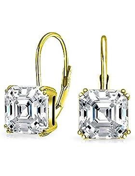Bling Jewelry 925 Silber Asscher Cut CZ Leverback Ohrhänger vergoldet