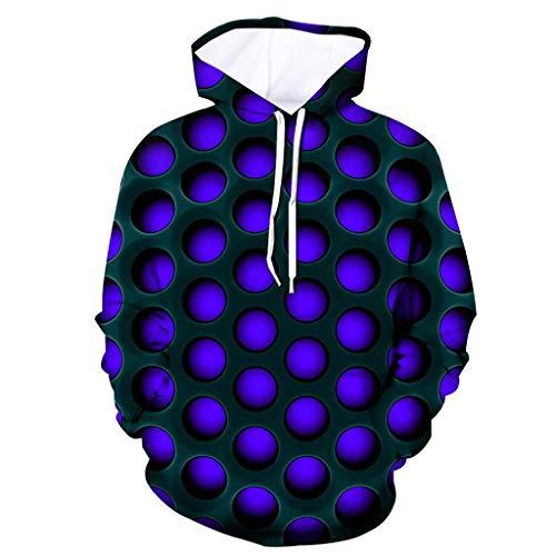 Xmiral Herren Pullover mit Kapuze 3D Solide Geometrie Drucken Persönlichkeit Psychedelisch Kapuzenpullover Sweatjacke Hoodie Sweatshirts(a Blau,XL)