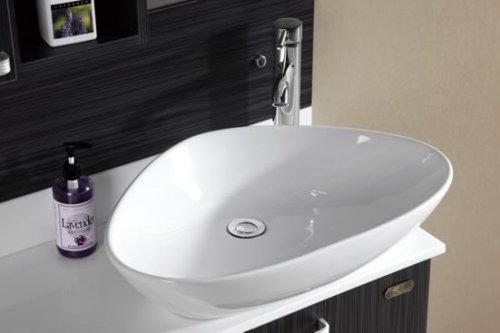 Mobile Arredo Bagno 80cm Moderno MDF sospeso wengè Grigio con lavabo ...