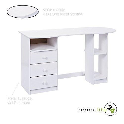 H24living Schreibtisch Computertisch Büromöbel PC Tisch Bürotisch Arbeitstisch modern weiß 3 Schubladen 3 Fächer Metallauszüge Massivholz (Moderne Schubladen 3)