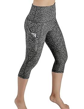 Nuevo!! Mallas Deportivas De Mujer,Mujer Pantalones EláSticos De Yoga con Bolsillos Laterales 3/4 Polainas De...