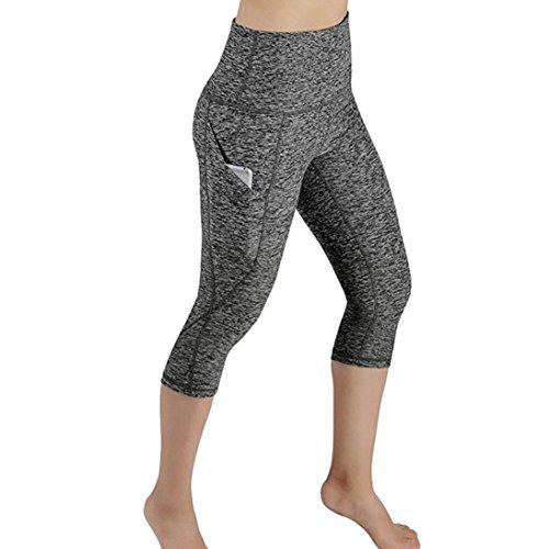 Gym High Waisted Yoga Trousers for Women,Lolittas 34 Quarter Hot Summer Cropped Wide Leg Running Casual Yoga Sport Leggings Pants