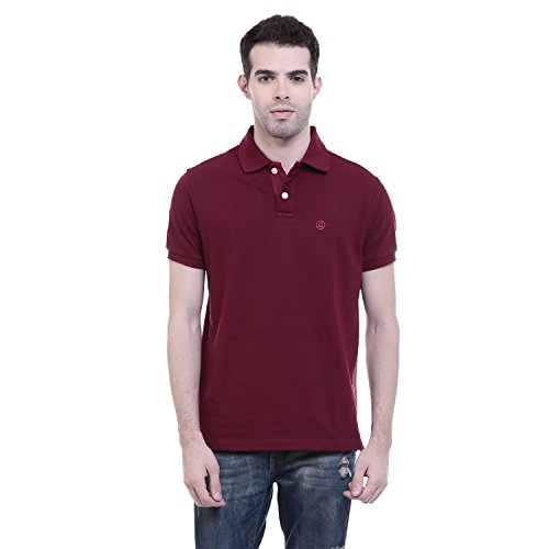 Chkokko Men's Cotton Half Sleeves 2 Buttons Polo Tshirts (Large, MAROON)
