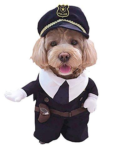 Moolecole Polizei Mann Haustier Kostüm Hund Kleider Welpe Katze Kostüm Outfit Komisch Haustier Bekleidung Für Teddy Und Bichon Polizei (Kostüm Superman Hund Batman)