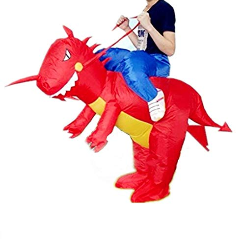 Aufblasbarer Kostüm,Party Overall Kostüme | Aufblasbarer Karneval Lustige Kleidung | Dinosaurier/Einhorn Cosplay Inflatable Carnival Funny Clothes Dinosaur T-Rex Cosplay Für Kinder and Erwachsener (Rot Dinosaur Kinder)
