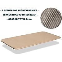 Bonitex - Base tapizada 3D 90x200cm 5 refuerzos transversales, grosor 6cm, transpirable, color beige (sin patas)