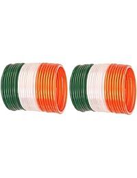 NMII Tri Colour (ORANGE/WHITE/GREEN) Tiranga Bangles For Independence Day/Republic Day/Annual Function/Theme Party...