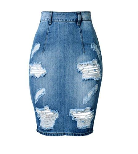 Sexy Distressed Jeans (Blansdi Damen Mädchen Frauen Sommer Sexy Distressed Ripped Gewaschene Jeans Boyfriend Rock Bleistift Boutique Knielang Dünn Denim Hose Loch Jeanshose)