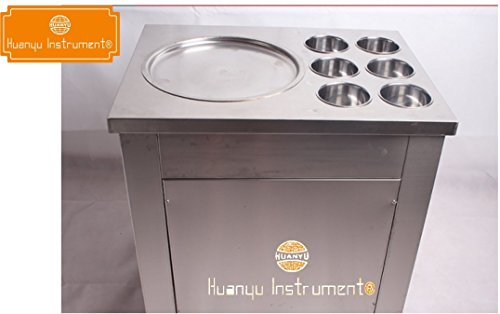Huanyu Instrument® Fried ice cream machine for fruit,ice,milk,yogurt one pan with six buckets ice cream roll maker (220V)