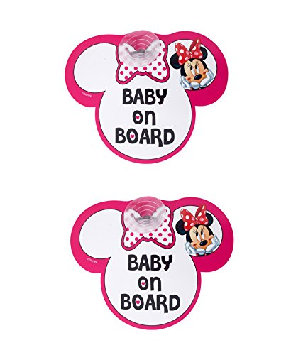 "Lot de 2 stickers Disney Minnie Mouse motif ""Baby on Board"" Rose"