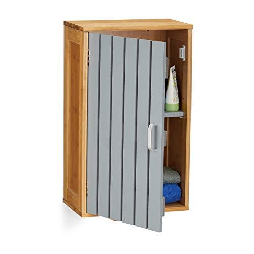 Relaxdays Hängeschrank Bad, 2 Fächer, höhenverstellbarer Einlegeboden, Bambus, MDF, HxBxT: 50 x 30 x 19 cm, natur/grau -