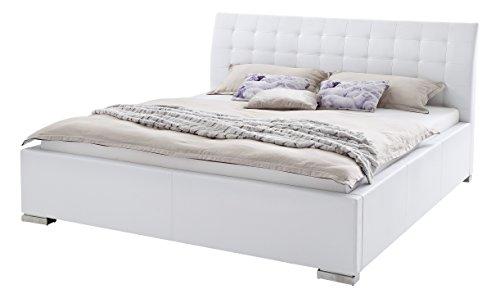 sette notti Polsterbett 100x200 cm Weiß, Bett mit XXL Kopfteil, Boxspringbett-Optik, Kunstleder Bett Liegefläche 100 x 200 cm, ISA Art Nr. 263-10-10000